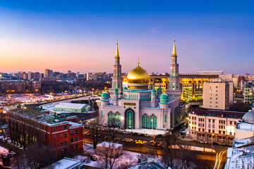 Moscow Cathedral Mosque at sunset in Moscow