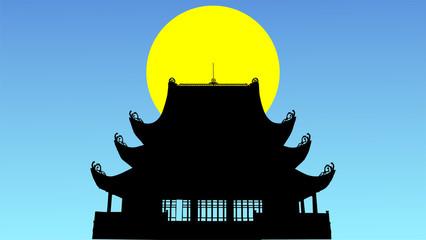 満月に浮かぶ東南アジアのお寺シルエット
