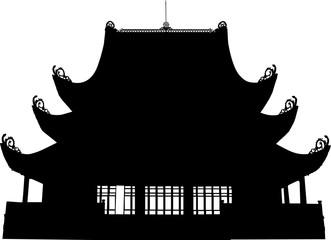 東南アジア風寺院のシルエット