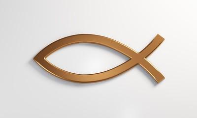 Christian Jesus Fish icon. 3D Render Illustration