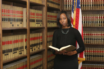 Portrait of a young attractive African American woman. Portrait of a woman attorney, civi rights lawyer