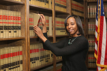 Women in workplace, woman in law, African American lawyer in law library