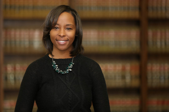 Portrait of a young attractive African American woman. Portrait of a woman lawyer.