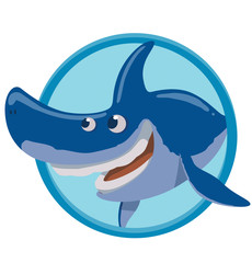 Vector image of a round blue frame with cartoon image funny happy blue shark on a white background. Sea life. Vector illustration.