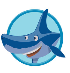 Vector image of a round blue frame with cartoon image funny smiling blue shark on a white background. Sea life. Vector illustration.