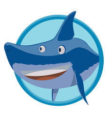 Vector image of a round blue frame with cartoon image funny curious blue shark on a white background. Sea life. Vector illustration.