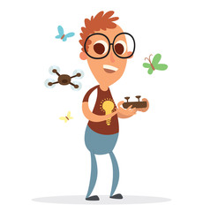 Vector cartoon image of a funny boy with big eyes, with brown hair in glasses in blue trousers, brown T-shirt and with black remote control in hands and black quadrocopter near on a white background.