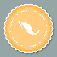 Mexico sticker flat design. Round flat style badges of trendy colors with country map and name. Country sticker vector illustration.