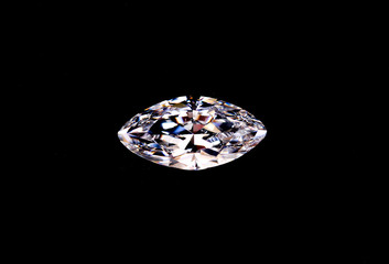 top view of diamond isolated on black background