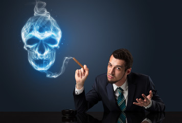 Businessman smoking.