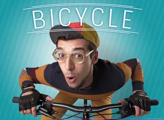 Nutty cyclist on his bike