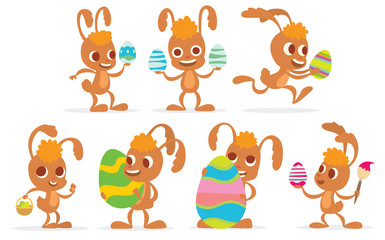 Vector cartoon image of a set of light brown Easter bunnies with orange forelocks in different poses with colorful Easter eggs on a white background. In the theme of Easter. Vector illustration.