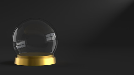 Empty snow glass ball with golden tray on dark background. 3D rendering.