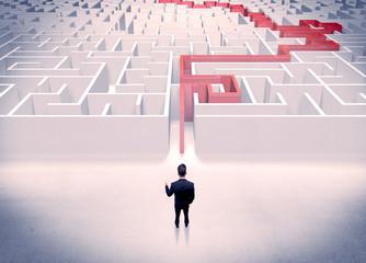 Maze solved for businessman concept