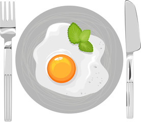 fried eggs on the plate