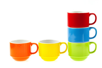 colorful coffee cups isolated on white background.