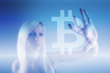 Bitcoin sign digital currency, futuristic digital money, blockchain technology concept
