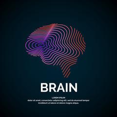 Vector logo brain color silhouette