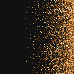 Red round gold glitter. Scatter right gradient with red round gold glitter on black background. Alluring Vector illustration.