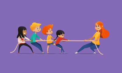 Redhead female teacher showing picture to children sitting around round table at class with laptop and tablet pc. Kids using gadgets during lesson at primary school. Colorful vector illustration.