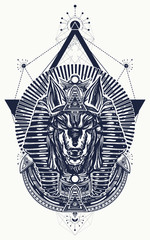 Anubis sacred geometry tattoo and t-shirt design. Anubis, god of war, Golden Mask of the Pharaoh, symbol of next world, kingdom of dead tattoo art