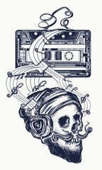 Human skull and old audio cassette  tattoo. Skull of the bearded hipster in earphone listens to music. Symbol of pop music, disco t-shirt design