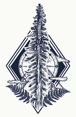 Pine tree and mountains, compass tattoo. Symbol of tourism, forest, rock climbing, camping. Fir tree and compass tattoo and t-shirt design