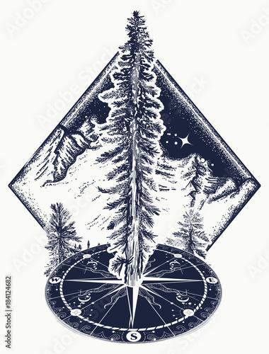 733616d6568b7 Pine tree and compass tattoo. Symbol of tourism, forest, rock climbing,  camping. Fir tree, forest art t-shirt design