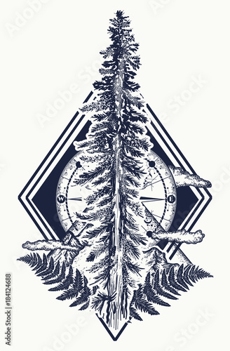 d5f8f4aaaaa19 Pine tree and mountains, compass tattoo. Symbol of tourism, forest, rock  climbing, camping. Fir tree and compass tattoo and t-shirt design