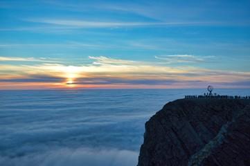 Midnight sun 'sunset' photo from the famous Nordkapp cliff landmark location, in July.