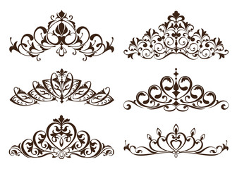 Vintage diadems and tiars with patterned ornaments