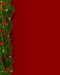 Vector background with Christmas tree Branches and decorations, pine cones, stars, red bows, ribbon . Vector christmas border on red background