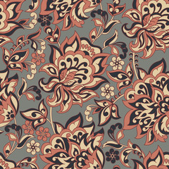 floral seamless pattern in batik style. vector background