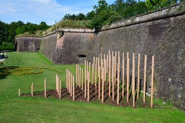 Neuf Brisach, France - july 23 2016 : fortification in summer