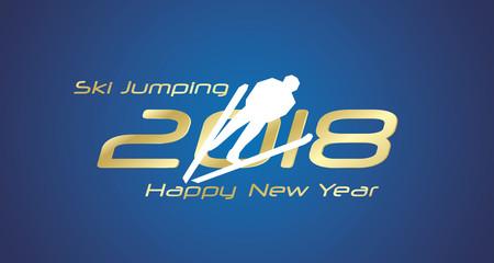 Ski Jumping 2018 Happy New Year gold logo icon blue background