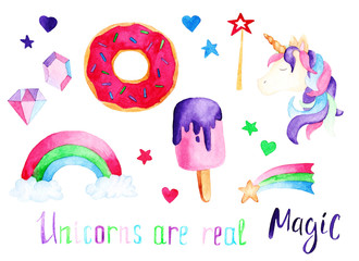 Watercolor unicorn set: ice cream and donut. For design, print or background