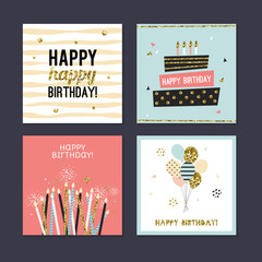 Happy Birthday  greeting cards set design