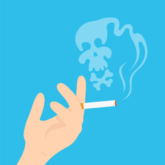Hand with a cigarette. Vector modern flat