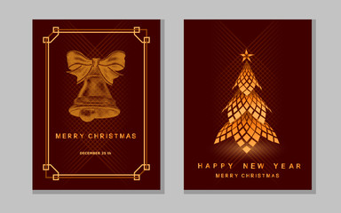 New Year greeting card with abstract christmas tree and bell.