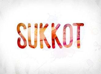 Sukkot Concept Painted Watercolor Word Art