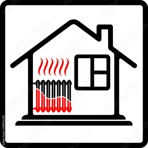 Logo house with radiator heating. Saving resources. High efficiency ...