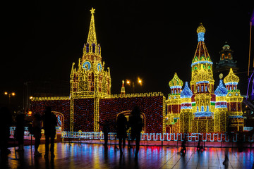 New Year 2018 and Christmass decoration in the Moscow streets.