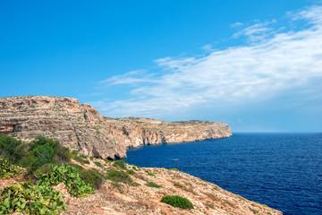 beautiful european view of cliff in blue lagoon, Malta