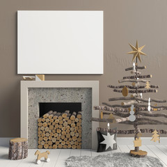 Modern Christmas interior with a decorative fireplace, Scandinavian style. 3D illustration. poster mock up
