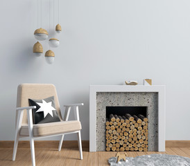 Modern  interior with a decorative fireplace, Scandinavian style. 3D illustration. wall mock up