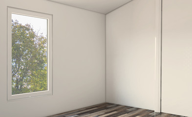 Spacious bathroom in gray tones with heated floors, freestanding tub. 3D rendering.. Empty interior