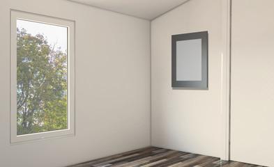 Scandinavian bathroom, classic  vintage interior design. 3D rendering.. Empty interior