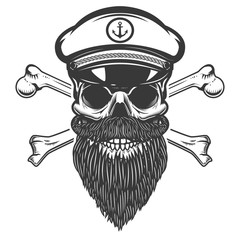 Sea captain skull with crossbones isolated on white background. Design element for emblem, sign, label, menu.