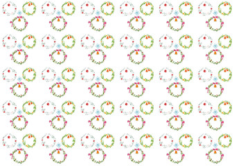 Watercolor Pattern of christmas wreath on white background