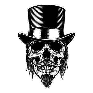 Zombie skull in vintage hat. Design element for poster, emblem, sign, t shirt. Vector illustration